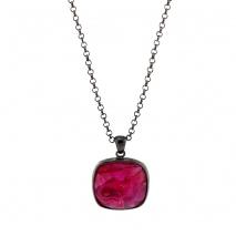 Oxette κολιέ 01X15-00070 από μαύρο ορείχαλκο με ημιπολύτιμες πέτρες (Κρύσταλλοι Quartz)