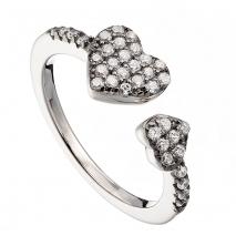 Oxette δαχτυλίδι 04X01-03501 καρδιά από επιπλατινωμένο ασήμι 925ο με ημιπολύτιμες πέτρες (Ζιργκόν)