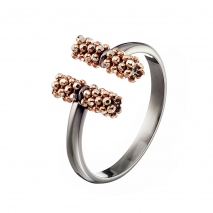 Oxette δαχτυλίδι 04X01-03509 από επιπλατινωμένο και ροζ επιχρυσωμένο ασήμι 925ο