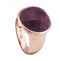 Oxette δαχτυλίδι 04X05-00982 από ροζ επιχρυσωμένο ασήμι 925ο με ημιπολύτιμες πέτρες (Κρύσταλλοι Quartz)