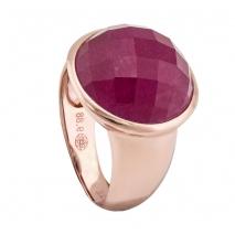 Oxette δαχτυλίδι 04X05-01276 από ροζ επιχρυσωμένο ασήμι 925ο με ημιπολύτιμες πέτρες (Κρύσταλλοι Quartz)