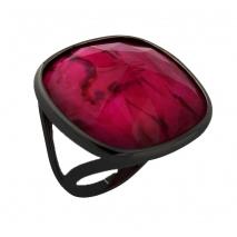 Oxette δαχτυλίδι 04X15-00045 από μαύρο ορείχαλκο με ημιπολύτιμες πέτρες (Κρύσταλλοι Quartz)