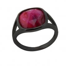 Oxette δαχτυλίδι 04X15-00046 από μαύρο ορείχαλκο με ημιπολύτιμες πέτρες (Κρύσταλλοι Quartz)