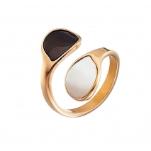 Oxette Rose Gold Stainless Steel Ring 04X27-00270 with semi precious stones (mother of pearl)