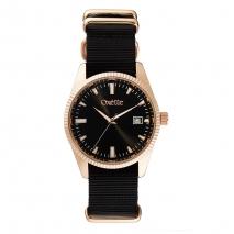 Oxette ρολόι 11X65-00234 από ανοξείδωτο ατσάλι με ροζ χρυσή επιμετάλλωση στην κάσα και nylon λουράκι