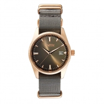Oxette ρολόι 11X65-00237 από ανοξείδωτο ατσάλι με ροζ χρυσή επιμετάλλωση στην κάσα και nylon λουράκι