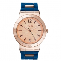 Oxette Stainless Steel Watch 11X75-00229 with rose gold case and silicon strap
