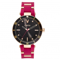 Oxette ρολόι 11X75-00247 από ανοξείδωτο ατσάλι με ροζ χρυσή επιμετάλλωση στην κάσα και λουράκι σιλικόνης
