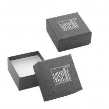Visetti μανικετόκουμπα MJ-MN032RB από ανοξείδωτο ατσάλι (Stainless Steel) με ροζ χρυσή επιμετάλλωση και ορυκτή πέτρα κουτί