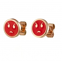 Loisir Stainless Steel Earrings 03L27-00517 Emoji with Ion Plated Rose Gold and Precious Stones (Enamel)