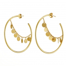 Loisir Stainless Steel Earrings 03L27-00530 hoops with Ion Plated Gold