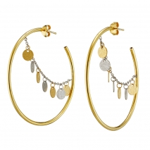 Loisir Stainless Steel Earrings 03L27-00531 hoops with Silver and Ion Plated Gold