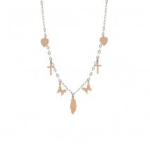 Loisir κολιέ 01L03-00470 πεταλούδα σταυρός καρδιά από ροζ χρυσό ανοξείδωτο ατσάλι (Stainless Steel)