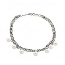 Loisir κολιέ 01L03-00481 αλυσίδα από ανοξείδωτο ατσάλι (Stainless Steel) με ημιπολύτιμες πέτρες (πέρλες)