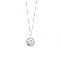 Loisir κολιέ 01L03-00486 λουλούδια από ανοξείδωτο ατσάλι (Stainless Steel) με ημιπολύτιμες πέτρες (κρύσταλλοι quartz)