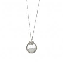 Loisir κολιέ 01L03-00487 πεταλούδα από ανοξείδωτο ατσάλι (Stainless Steel) με ημιπολύτιμες πέτρες (κρύσταλλοι quartz)