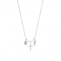 Loisir κολιέ 01L03-00489 φτερό αστέρι σταυρός από ανοξείδωτο ατσάλι (Stainless Steel) με ημιπολύτιμες πέτρες (κρύσταλλοι quartz)