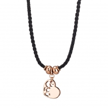 Loisir Necklace 01L15-00530 Heart with Rose Gold Brass and Cord