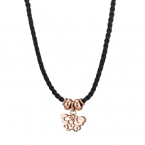 Loisir Necklace 01L15-00531 Butterfly with Rose Gold Brass and Cord
