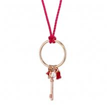 Loisir κολιέ 01L15-00538 κρίκος από ροζ χρυσό ορείχαλκο με κορδόνι