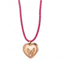 Loisir κολιέ 01L27-00689 καρδιά locket από ροζ χρυσό ανοξείδωτο ατσάλι (Stainless Steel) με ημιπολύτιμες πέτρες (Κρύσταλλοι Quartz)