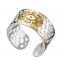 Loisir Stainless Steel Ring 04L03-00263 with silver and Ion Plated Gold