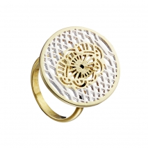 Loisir Stainless Steel Ring 04L27-00742 with silver and Ion Plated Gold