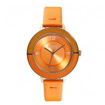 Loisir ρολόι 11L65-00180 με ροζ χρυσή μεταλλική κάσα και δερμάτινο λουράκι.