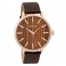 OOZOO Timepieces C9253 γυναικείο ρολόι με ροζ χρυσή μεταλλική κάσα, ξύλινο καντράν και καφέ δερμάτινο λουράκι