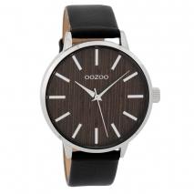 OOZOO Timepieces C9254 γυναικείο ρολόι με ασημί μεταλλική κάσα, ξύλινο καντράν και μαύρο δερμάτινο λουράκι