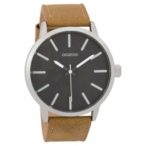 OOZOO Timepieces C9600 ανδρικό ρολόι XL με ασημί μεταλλική κάσα και κάμελ δερμάτινο λουράκι