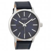 OOZOO Timepieces C9602 ανδρικό ρολόι XL με ασημί μεταλλική κάσα και σκούρο μπλε δερμάτινο λουράκι