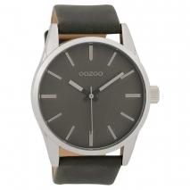 OOZOO Timepieces C9628 ανδρικό ρολόι XL με ασημί μεταλλική κάσα και σκούρο γκρι δερμάτινο λουράκι