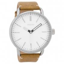 OOZOO Timepieces C9631 ανδρικό ρολόι XL με ασημί μεταλλική κάσα και κάμελ δερμάτινο λουράκι