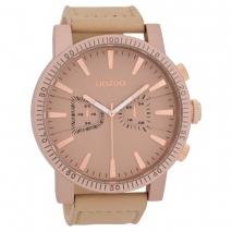 OOZOO Timepieces C9646 ανδρικό ρολόι XL με ροζ μεταλλική κάσα και απαλό ροζ δερμάτινο λουράκι