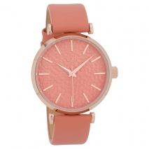 OOZOO Timepieces C9667 γυναικείο ρολόι με ροζ χρυσή μεταλλική κάσα και ροζ δερμάτινο λουράκι