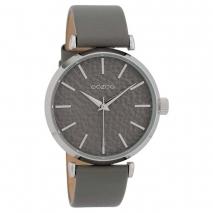 OOZOO Timepieces C9668 γυναικείο ρολόι με ασημί μεταλλική κάσα και γκρι δερμάτινο λουράκι