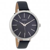 OOZOO Timepieces C9671 γυναικείο ρολόι με ασημί μεταλλική κάσα και σκούρο μπλε δερμάτινο λουράκι
