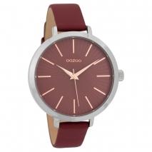 OOZOO Timepieces C9673 γυναικείο ρολόι με ασημί μεταλλική κάσα και μπορντώ δερμάτινο λουράκι