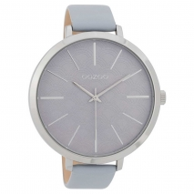 OOZOO Timepieces C9677 γυναικείο ρολόι με ασημί μεταλλική κάσα και λιλά δερμάτινο λουράκι