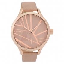 OOZOO Timepieces C9680 γυναικείο ρολόι με ροζ χρυσή μεταλλική κάσα και ροζ δερμάτινο λουράκι