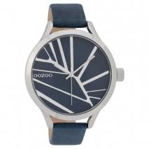 OOZOO Timepieces C9681 γυναικείο ρολόι με ασημί μεταλλική κάσα και σκούρο μπλε δερμάτινο λουράκι