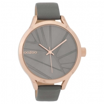OOZOO Timepieces C9683 γυναικείο ρολόι με ροζ χρυσή μεταλλική κάσα και γκρι δερμάτινο λουράκι