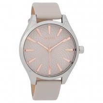 OOZOO Timepieces C9685 γυναικείο ρολόι με ασημί μεταλλική κάσα και γκρι δερμάτινο λουράκι
