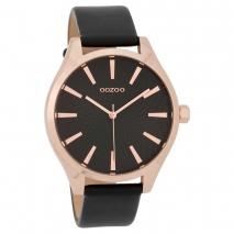 OOZOO Timepieces C9689 γυναικείο ρολόι με ροζ χρυσή μεταλλική κάσα και μαύρο δερμάτινο λουράκι