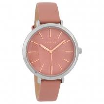 OOZOO Timepieces C9696 γυναικείο ρολόι με ασημί μεταλλική κάσα και ροζ δερμάτινο λουράκι