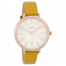 OOZOO Timepieces C9697 γυναικείο ρολόι με ροζ χρυσή μεταλλική κάσα και μουσταρδί δερμάτινο λουράκι