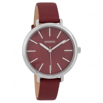 OOZOO Timepieces C9698 γυναικείο ρολόι με ασημί μεταλλική κάσα και μπορντώ δερμάτινο λουράκι