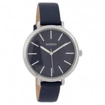 OOZOO Timepieces C9699 γυναικείο ρολόι με ασημί μεταλλική κάσα και σκούρο μπλε δερμάτινο λουράκι
