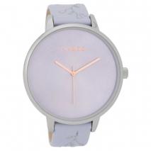 OOZOO Timepieces C9716 γυναικείο ρολόι με ασημί μεταλλική κάσα και λιλά δερμάτινο λουράκι
